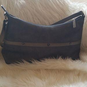 "St.John Knits ""metals"" Italian leather logo purse"